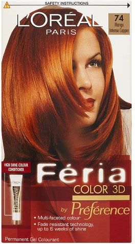 L Oreal Feria Permanent Haircolour Shade 74 Mango Intense Copper