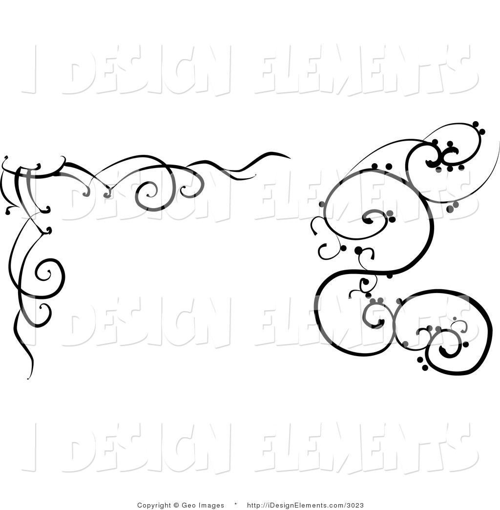 Clip Art Black And White | Clip Art Of A Black And White Scrolling Designs  By