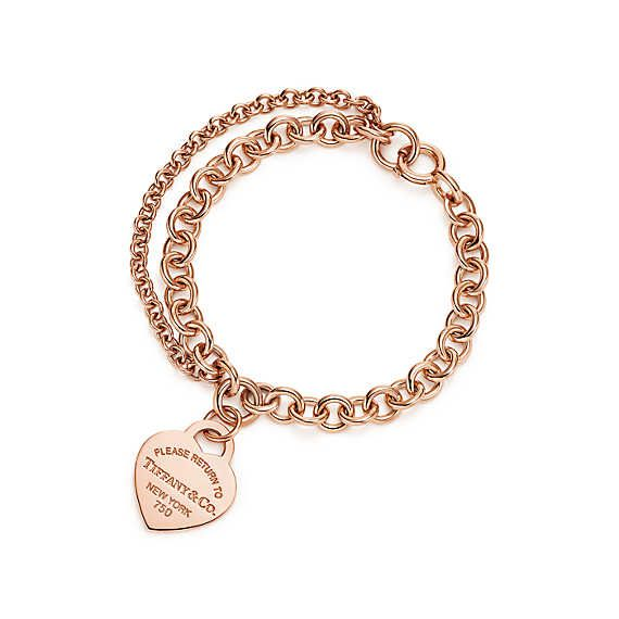 0f13c763b Return to Tiffany® double chain heart tag bracelet in 18k rose gold, large.