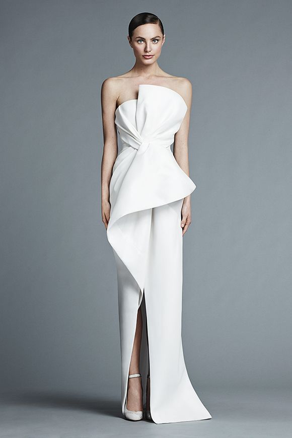J.Mendel Micheline Silk strapless asymmetrical draped bustier gown ...