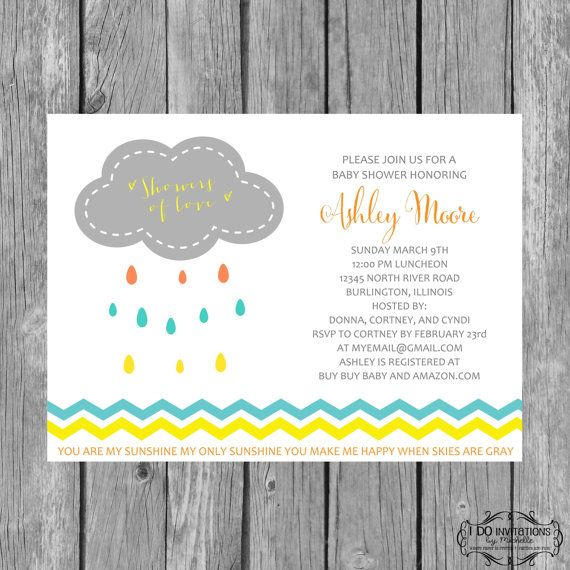 Rain Cloud Baby Shower Invitation   You Are My Sunshine Gender Neutral Baby  Shower, Chevron