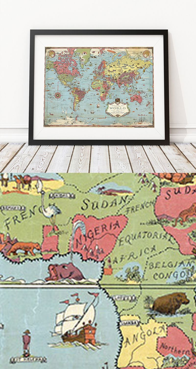 Pictoral world map 1930s early explorers and vintage maps pictoral world map landmass worldmap maps giftideas homedecor landmassgoods gumiabroncs