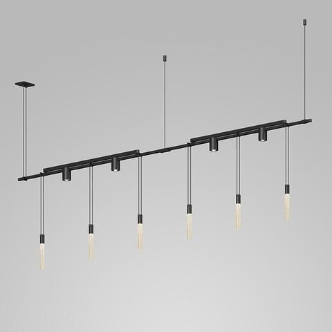 Sonneman Suspenders Linear One Tier Multi Light Pendant With Crystal Rods And Cylinder Reflector Luminaires