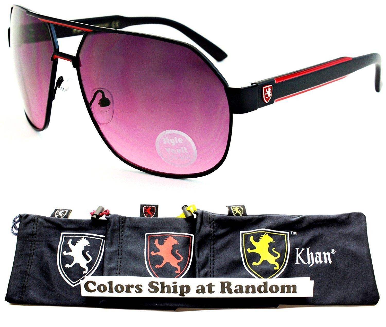 bf678b7b0042 A174-kp Aviator Angled Metal Sunglasses - P2407C Black Black Red-Purplish  Smoked - CI12DUFEWMP - Men s Sunglasses