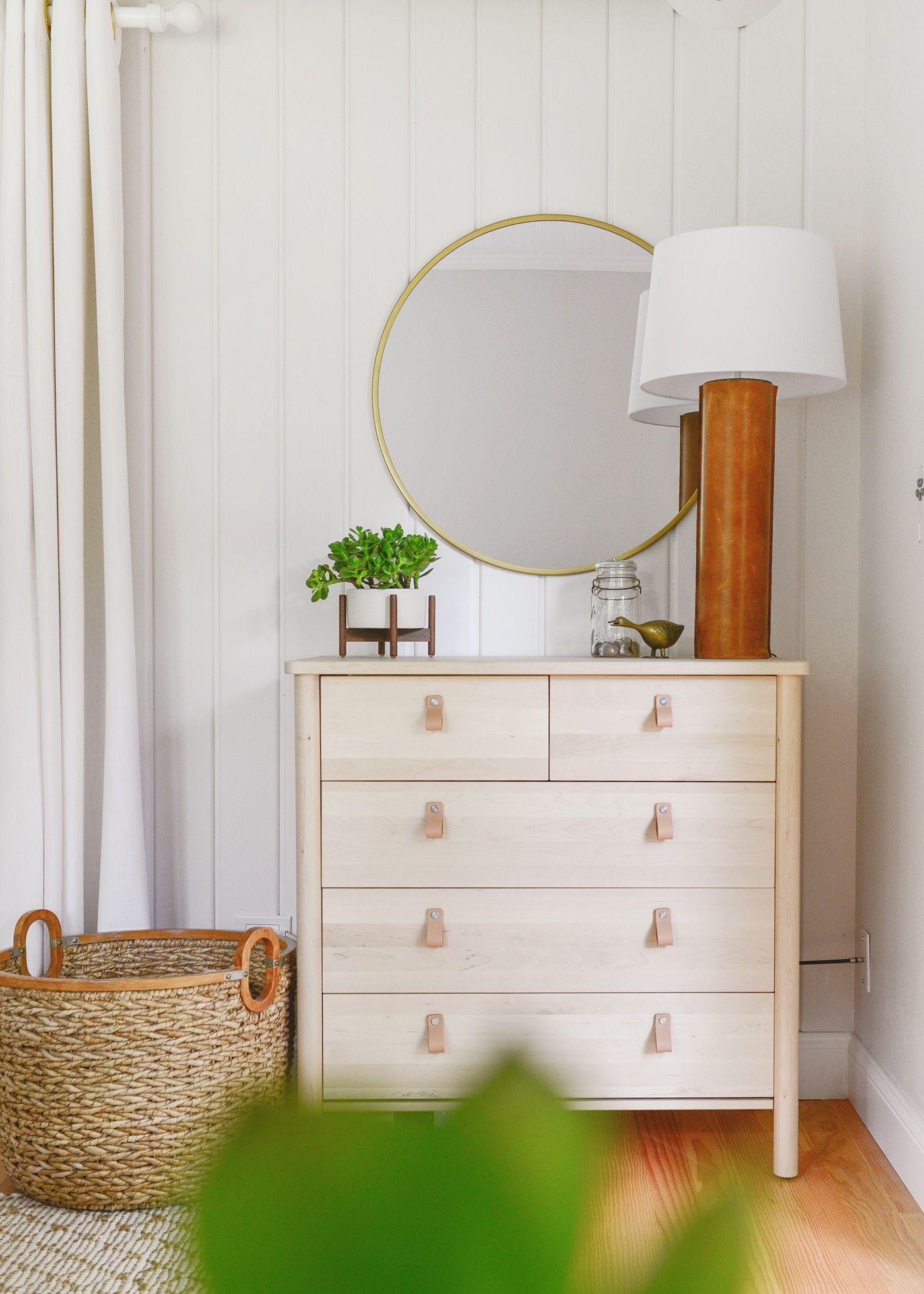 Our Bedroom Dresser Nook Packs Function And Beauty Into One We Used The Ikea Bjorksnas Everyone S Favorite Br Target Mirror To Create A