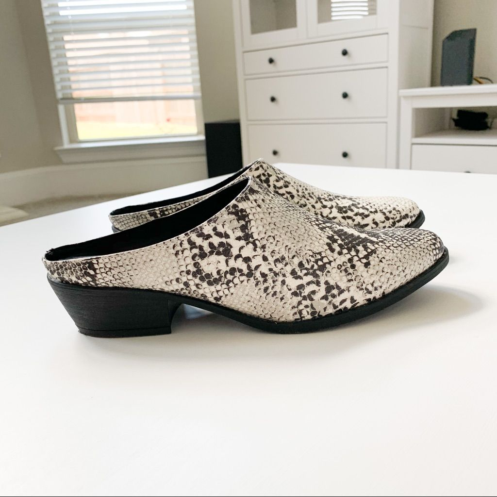 Qupid Shoes | Qupid Snake Print Mule | Color: Black/White | Size: Various
