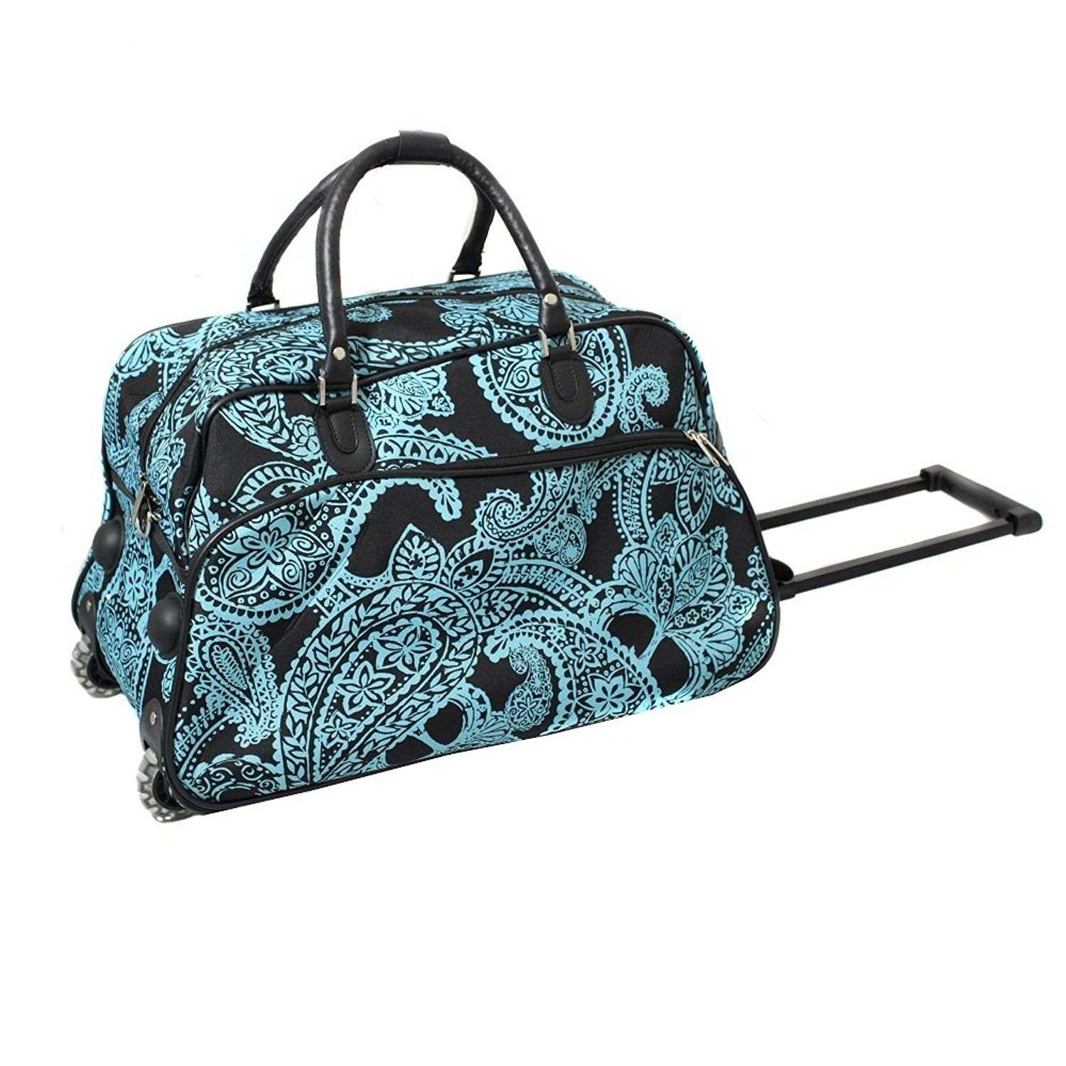 Girls Black Blue Paisley Carry Duffel Bag Floral Themed Flower Luggage c0d7c674b1bf5