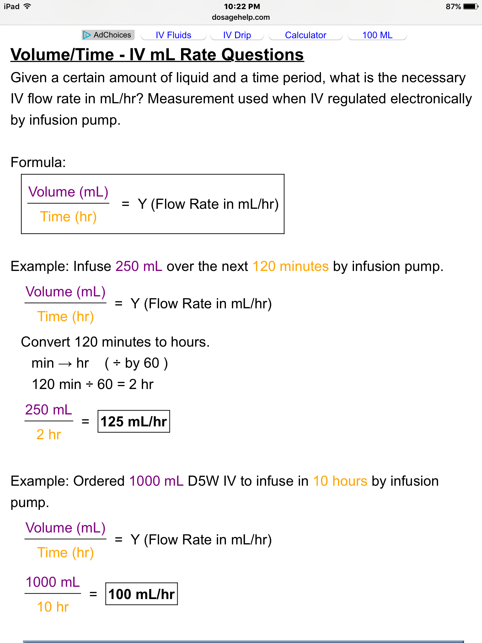 Iv Rate Calculation Formula