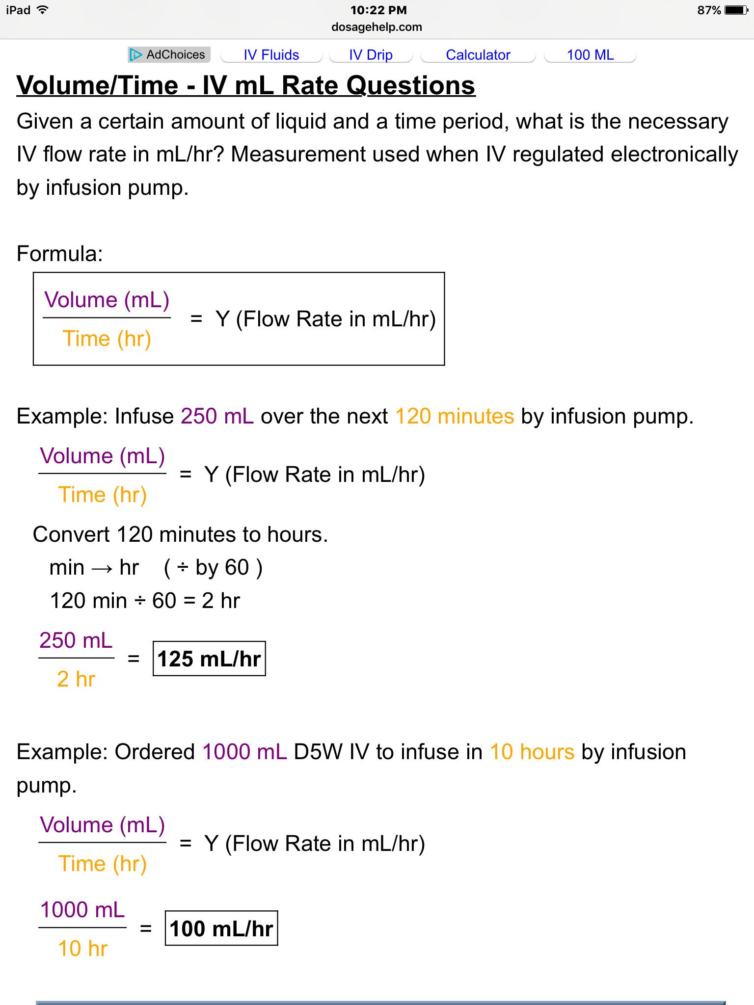 IV rate calculation formula Nursing math, Medical math