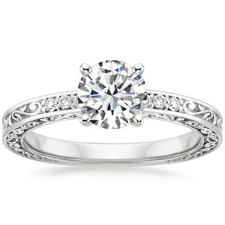 18K White Gold Delicate Antique Scroll Diamond Ring, top view