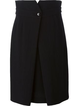 Armani Collezioni Black Pleated Midi Skirt For Women On Sale