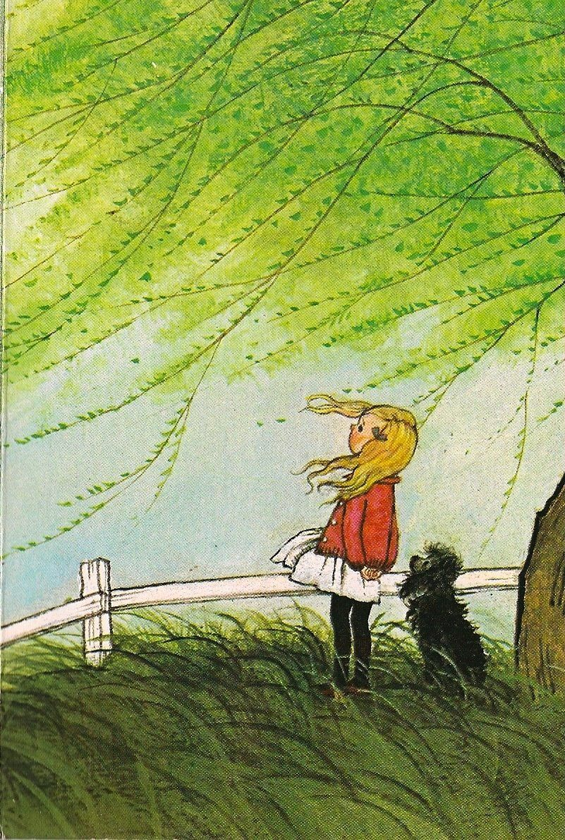 What a memory!  The weeping willows that grew clear past the wooden rail fence to the ground.  And three little girls that couldn't wait to run outside to watch a wind or hail storm roll in.