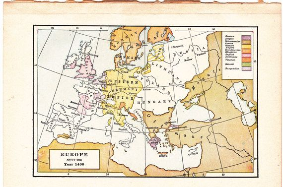 Old map of europe about the year 1400 from route44west on etsy old map of europe about the year a world history map from a 1915 american book gumiabroncs Choice Image
