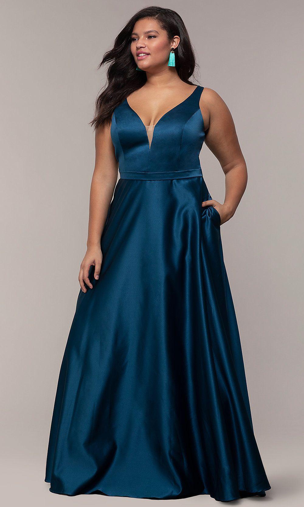 fde4a582346 Long A-Line V-Neck Plus-Size Prom Dress by PromGirl