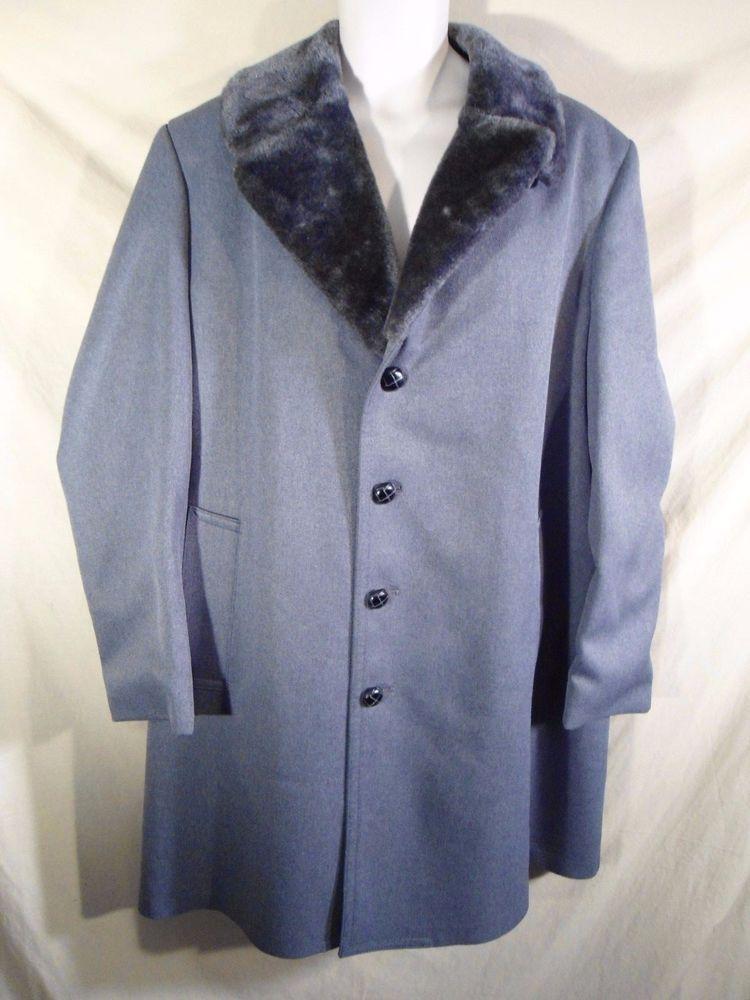 VINTAGE London Fog Men's 3/4 Overcoat Coat Jacket Faux Shearling Wide Collar-42L #LondonFog #Trench