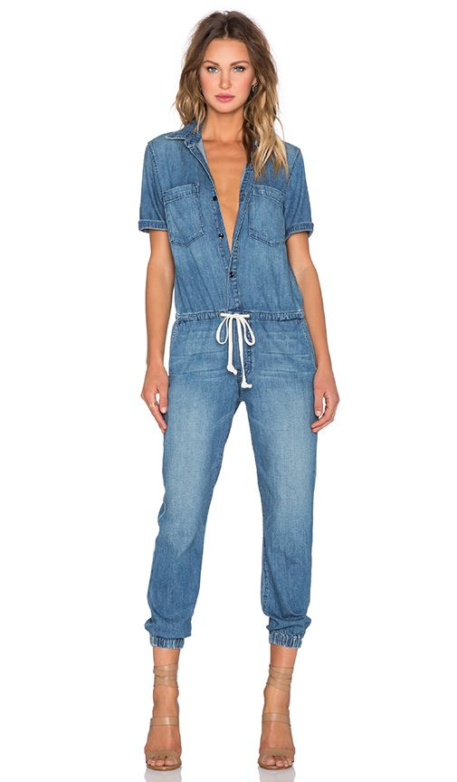 f27bfcfb47a MOTHER Short Sleeve Jumpsuit in Porch Swings   Picket Fences ...