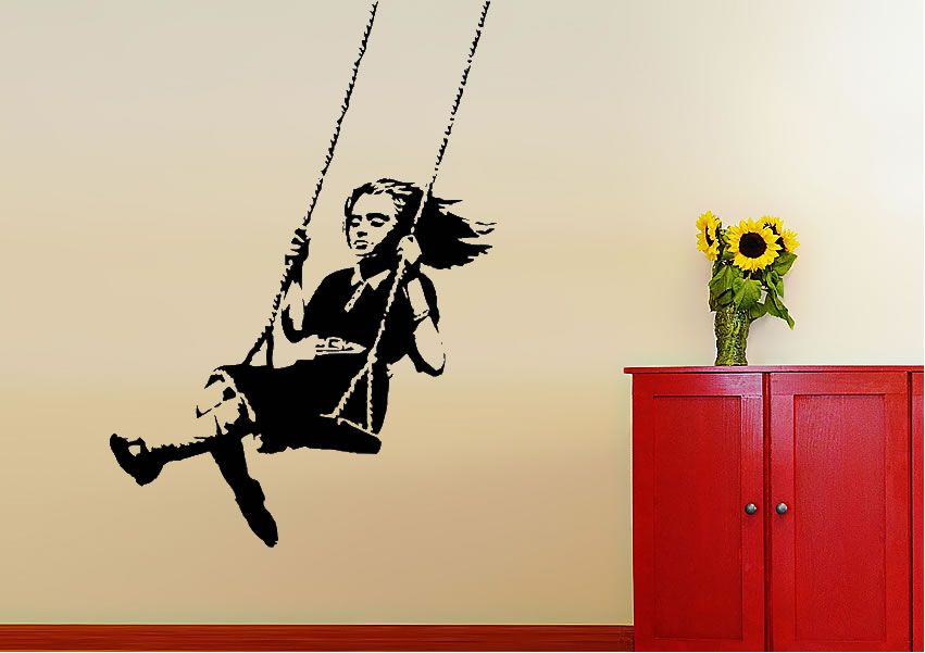 Girl On Swing Banksy Wall Stickers Adhesive Wall Sticker | WALLS ...