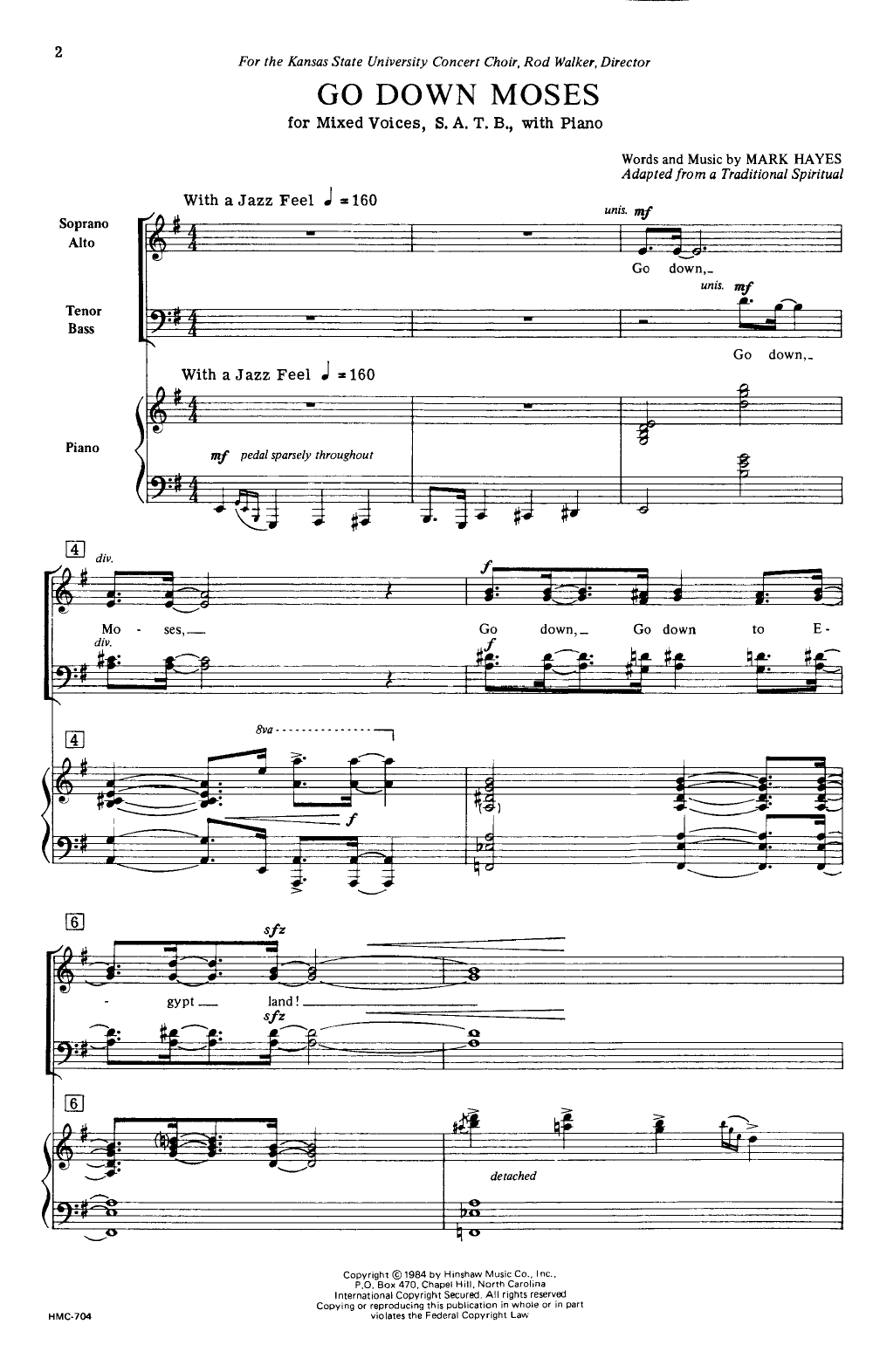 Go Down, Moses (SATB ) arr  Mark Hayes| J W  Pepper Sheet