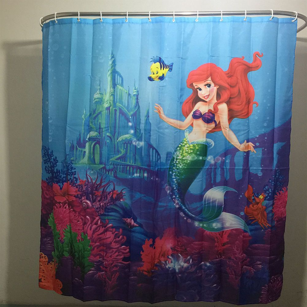 Shower Curtain Bathroom Little Mermaid Pattern Waterproof Fabric