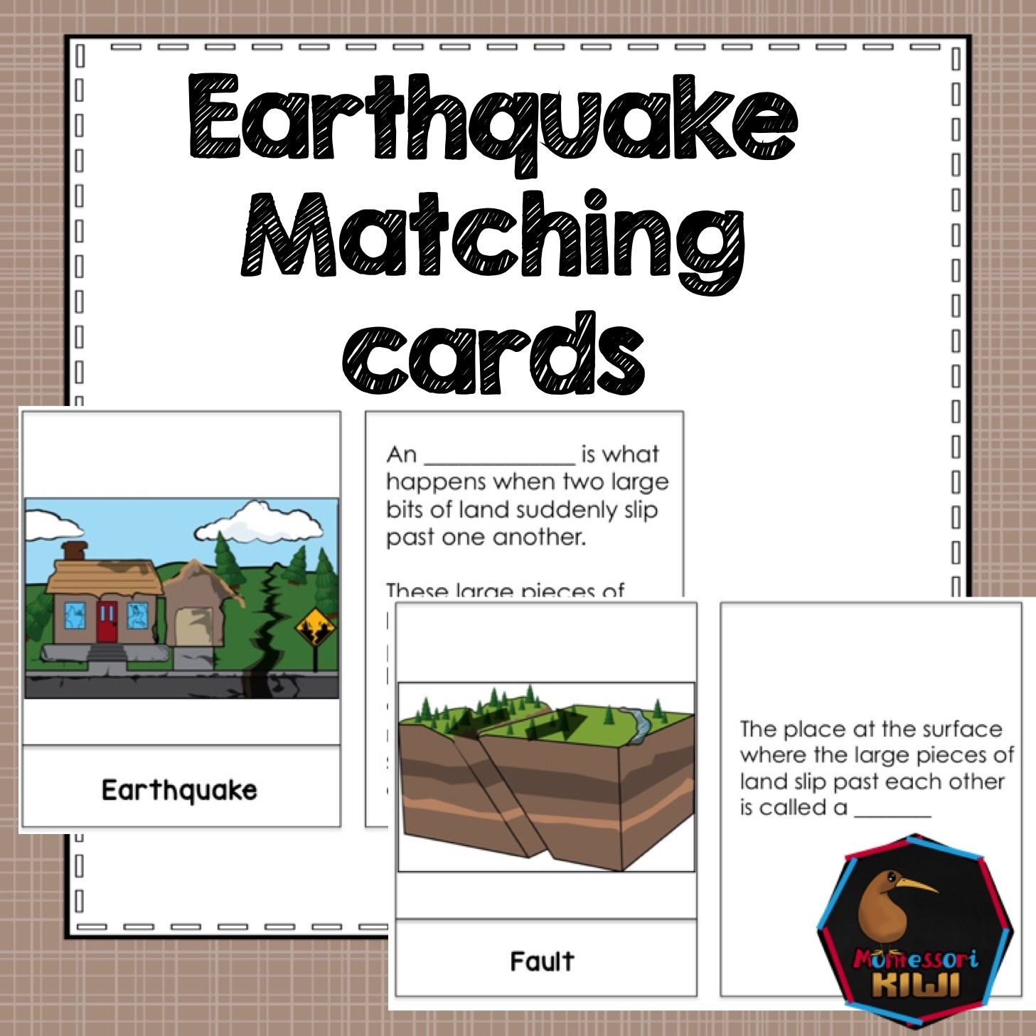 Earthquake Vocabulary Matching Activities 2 Different
