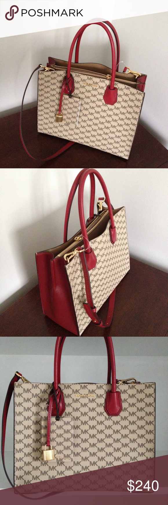 f955ddd0c6 Michael Kors Studio Mercer Signature LG Conv Tote MK Studio Mercer  Signature Large Convertible Tote featured