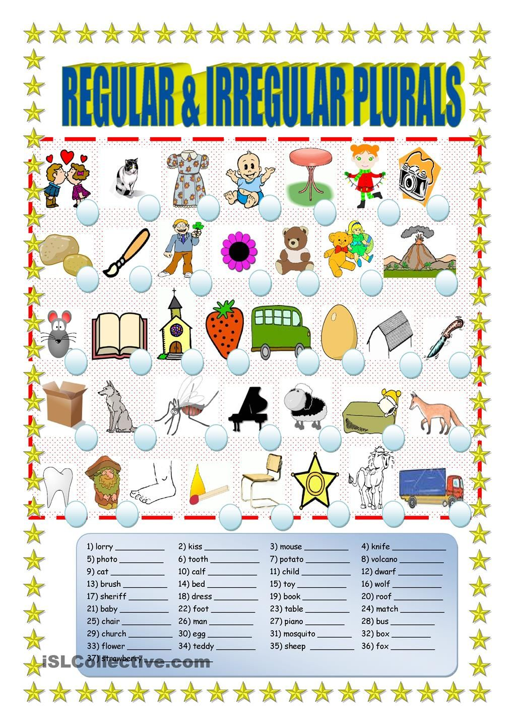 Regular and irregular plurals | worksheets, activities | Pinterest ...