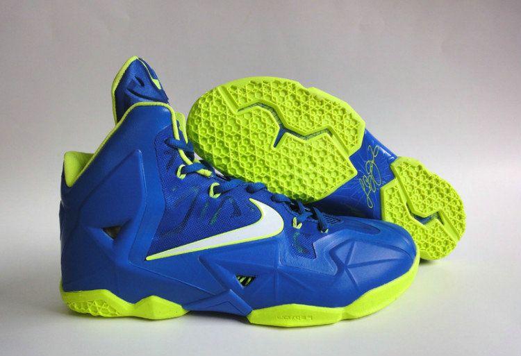 Nike Lebron XI Sprite Hyper Blue Lime Green Metallic Silver  d622bb77b61f