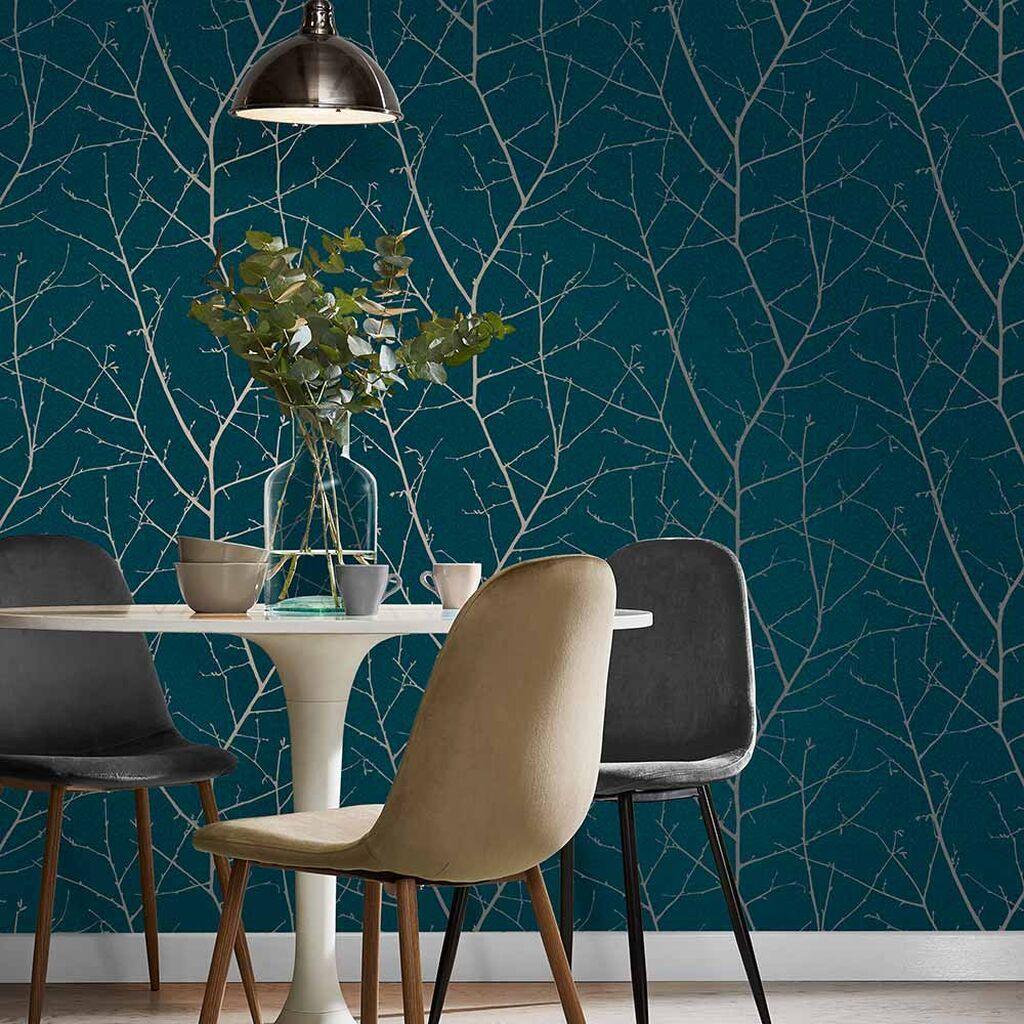 Boreas Teal Wallpaper In 2020 Teal Wallpaper Dining