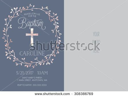 Photo baptismchristeningfirst communionconfirmation invitation photo baptismchristeningfirst communionconfirmation invitation with watercolor cross and floral wreath stopboris Images