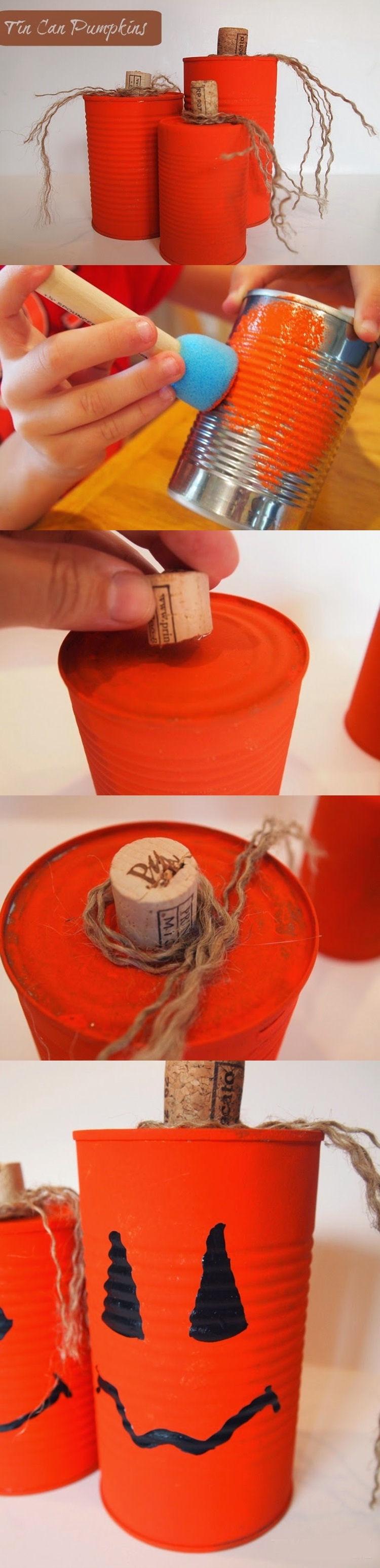 diy tin pumpkin cans halloween diy halloween halloween craft ideas