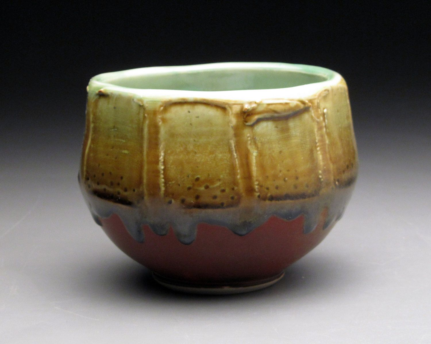 Items Similar To Red And Amber Faceted Bowl On Etsy Handmade Ceramics Pottery Tea Bowls Bowl