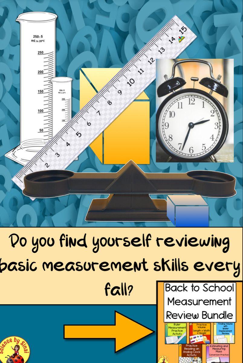 Measurement Back To School Review Activities Worksheet Bundle Science Teacher Resources Review Activities School Reviews
