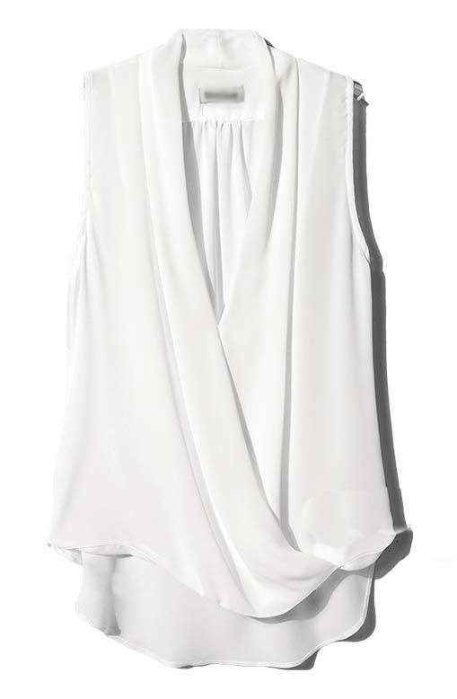 White V Neck Sleeveless Asymmetrical Chiffon Blouse | I'd Wear ...