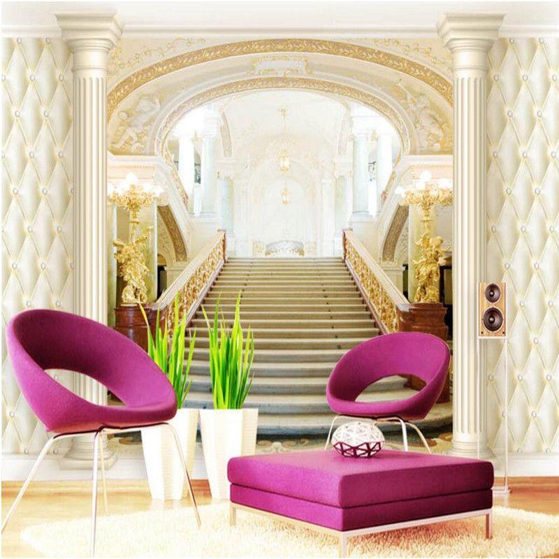 Personalizado papel de pared arte Moderno pintura escalera columna - tapices modernos
