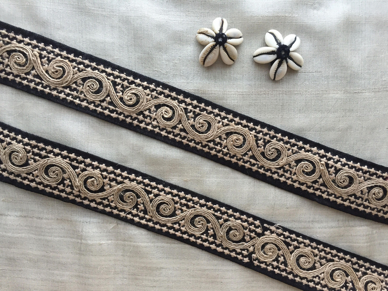 Black Jute Indian Embroidery Trim,Beige Jute Spiral Floral Lace Sari Border Boho Chic Trim Summer beach Beige cord trim 3 cm W,Price per mtr by IndianCraftSafari on Etsy
