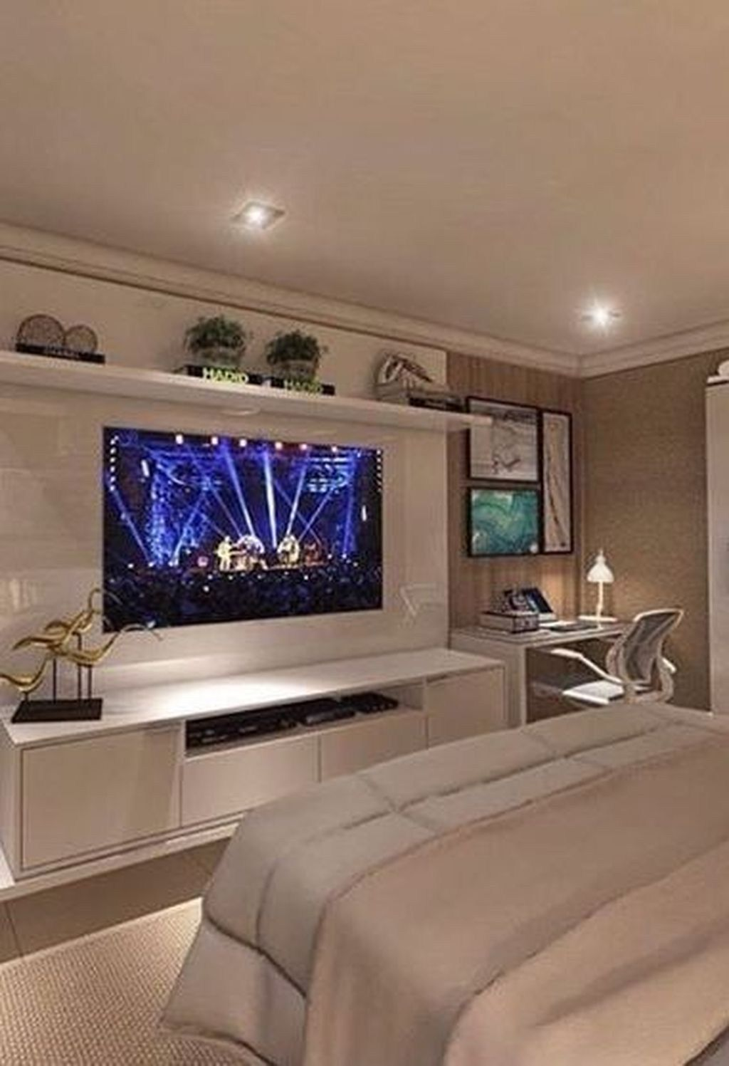 35 Enjoying Bedroom Design Ideas With Wall Tv To Try In 2020 With