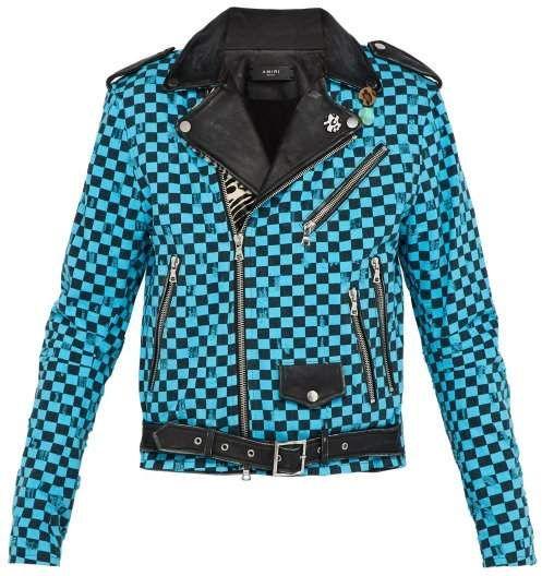 9f8259c46 Amiri Artist Checkered Denim And Leather Biker Jacket - Mens - Multi ...
