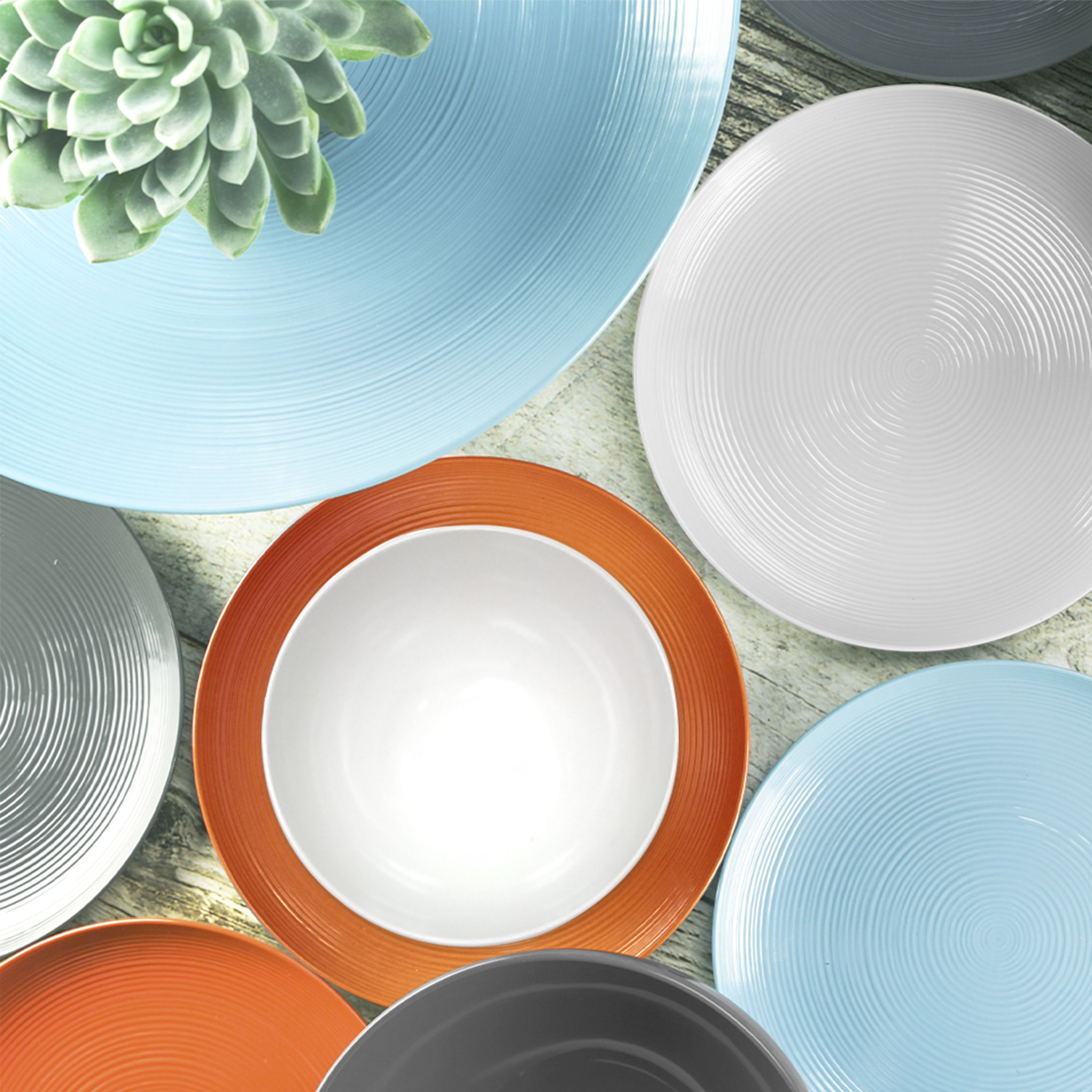 Embolden Your Table Setting By Mixing And Matching Durable Dinnerware Sets With Simple Shapes And B Melamine Dinnerware Sets Colorful Dinnerware Dinnerware Set