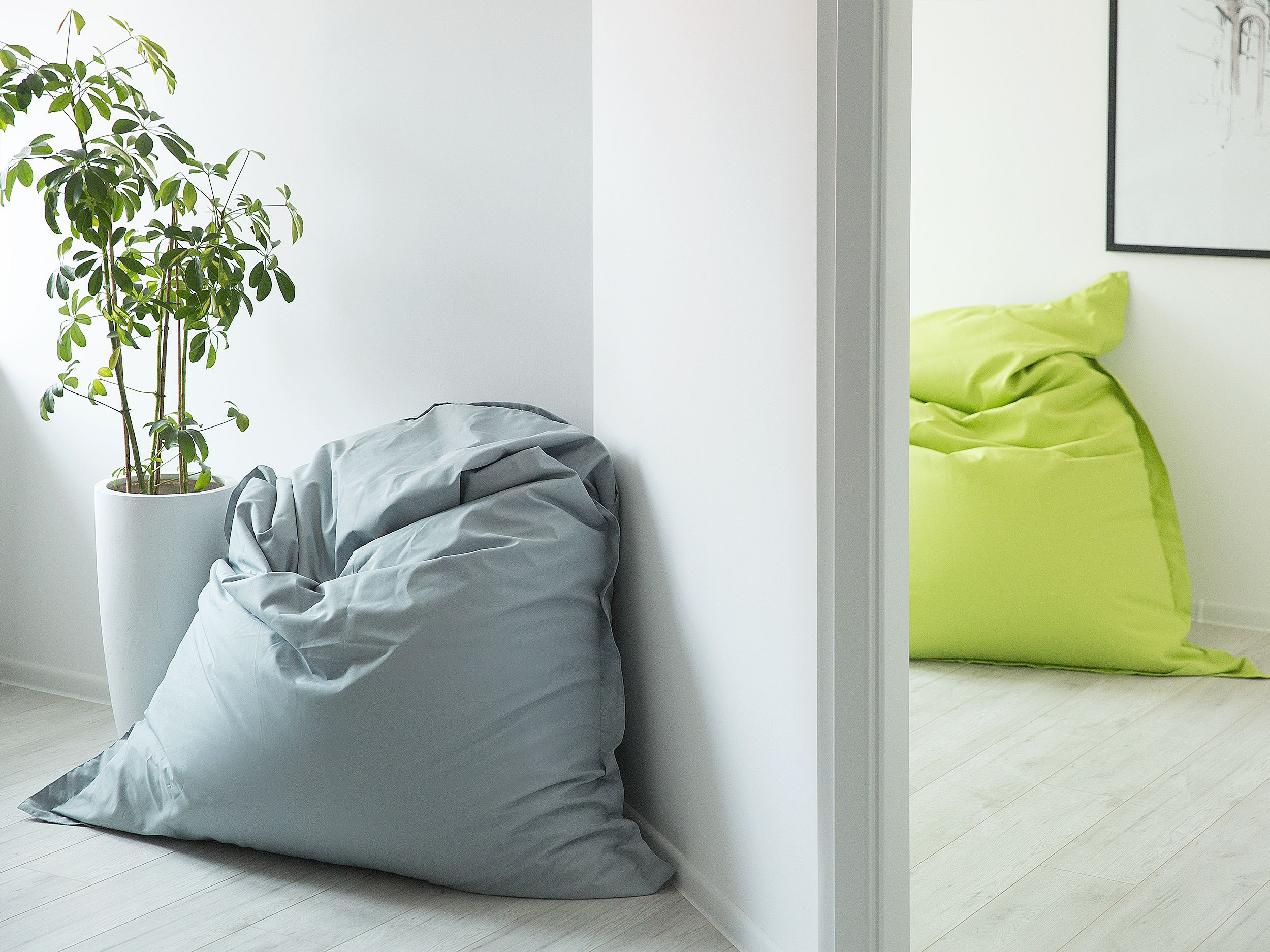 A multi-functional grey bean bag as a comfortable seating space for ...