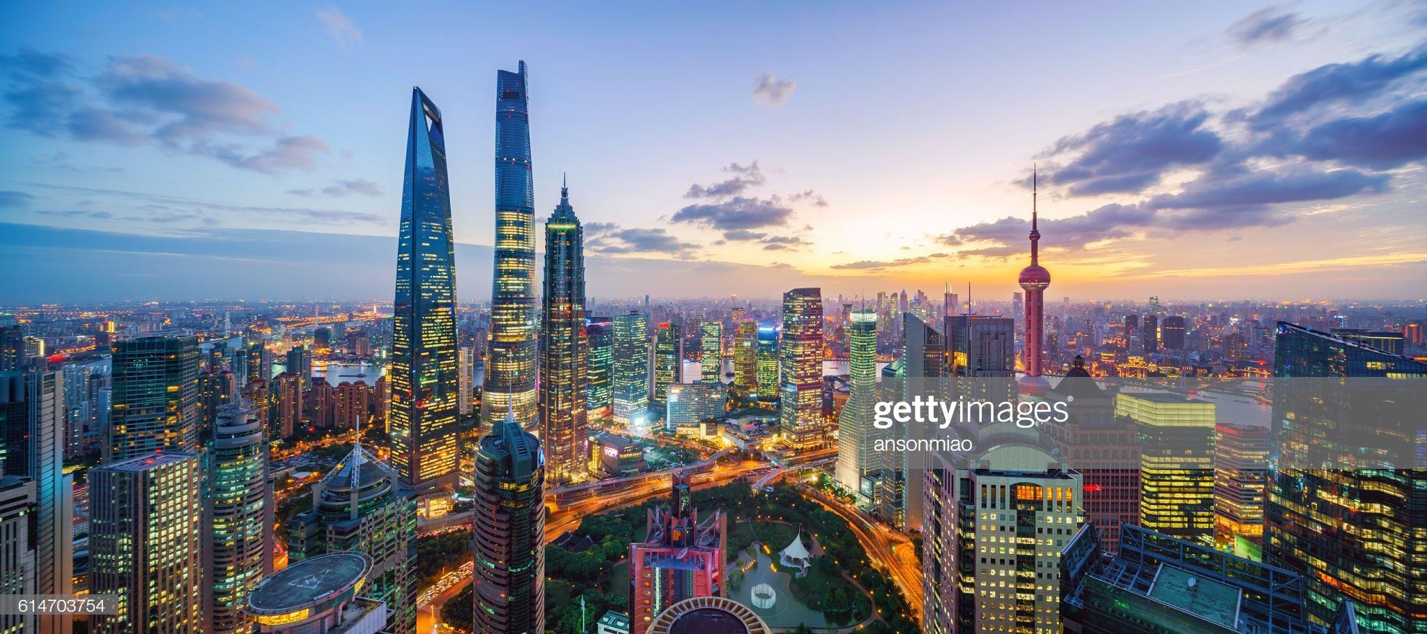 Shanghai Skyline Sunset Shanghai Skyline Skyline Smart Building