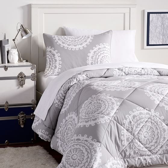 Medallion Florette Value Comforter Set Light Grey