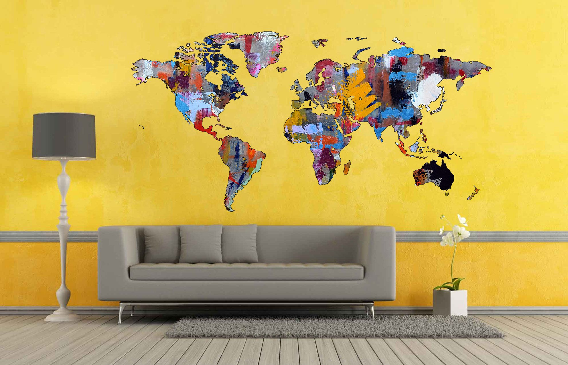 Abstract World Map Wall Art Decal Abstract Decor Modern Art Print Abstract Poster Abstract Wall Art Abstract Prints World Map Decal Vinyl World Map Wall Art Decal Wall Art Modern Art