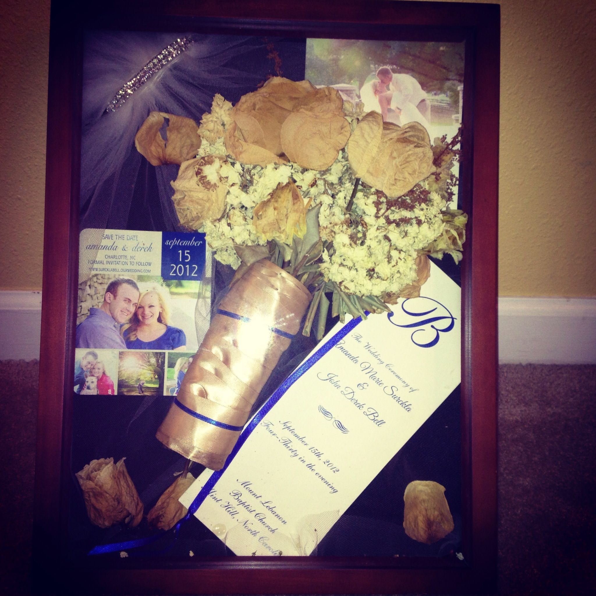Wedding Shadow Box I Dried My Bouquet Cut Veil For The Background BoxesMichaels Craft StoresDried