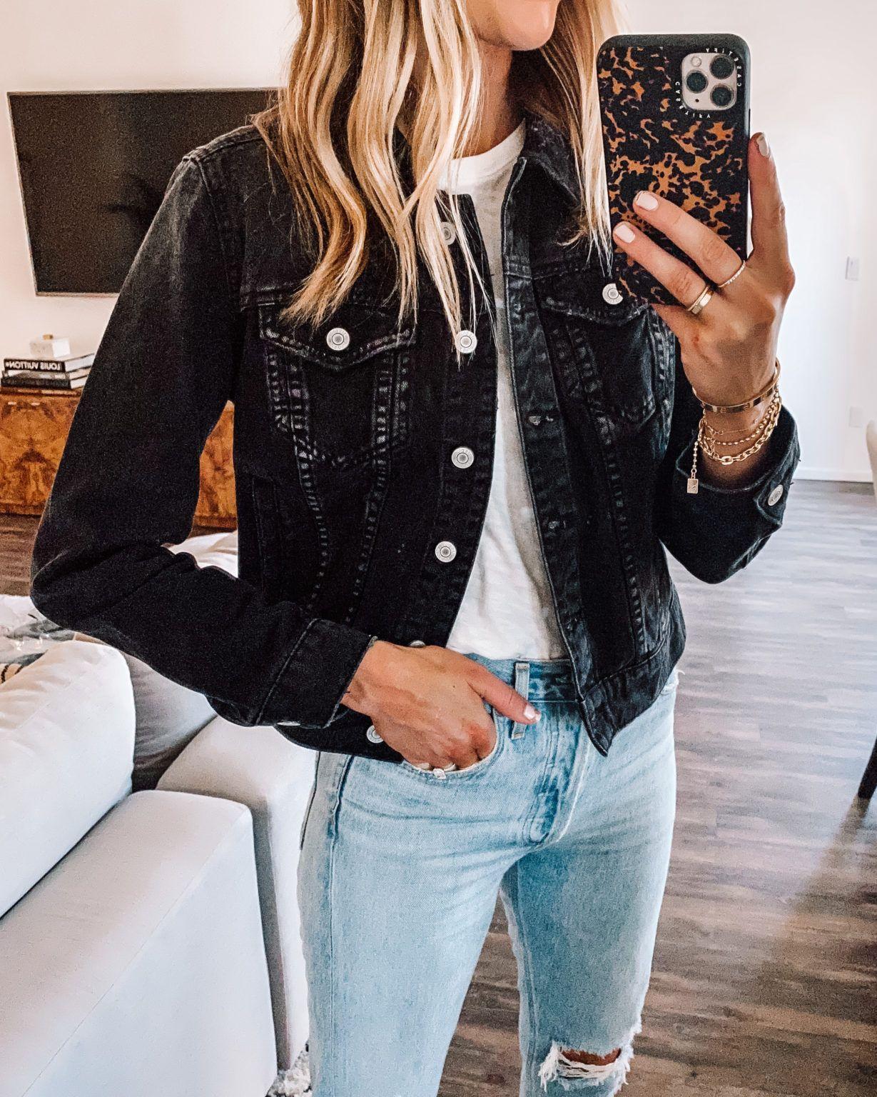 Fashion Jackson Wearing Black Denim Jacket White Tshirt Ripped Denim Jeans In 2021 Jacket Outfit Women Black Denim Jacket Outfit Jean Jacket Outfits Summer [ 1536 x 1229 Pixel ]