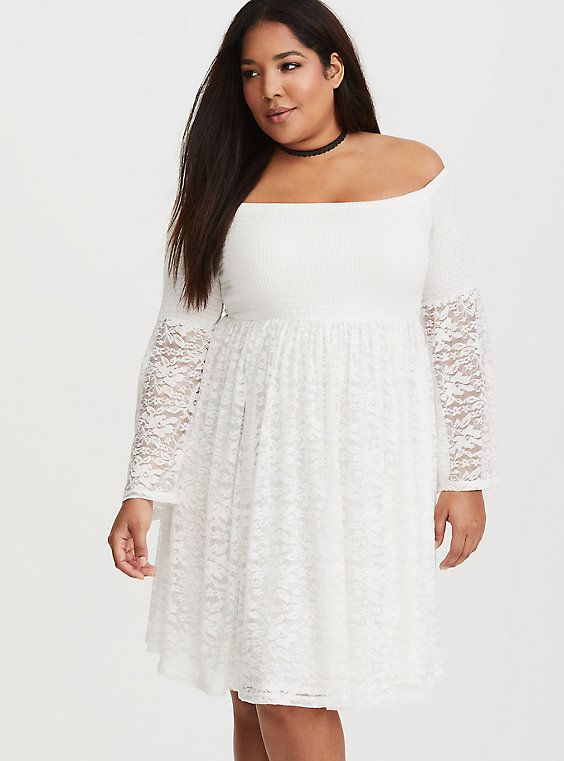 White Lace Shirred Skater Dress | Whitest of Whites ...