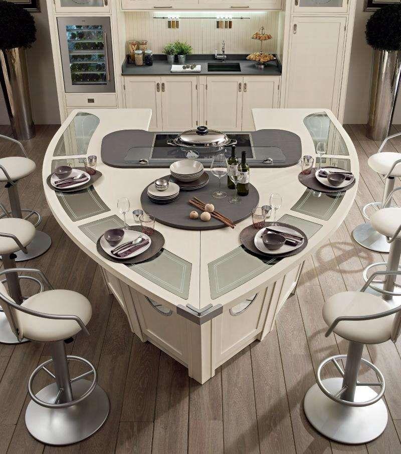kochinsel mit schiffsform in weißer farbe | ideen rund ums haus, Wohnzimmer design