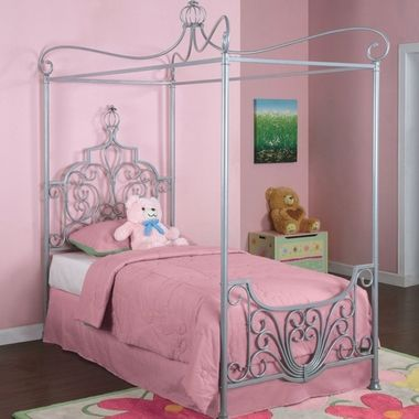 Princess Rebecca Canopy Twin Size Bed Sparkle Silver 374-106 by Powell Furniture - Kids Beds at SimplyKidsFurniture