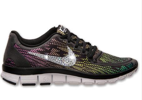 a24241048e52 2014 Nikes By Kicks Glitter - Nike Free 5.0 V4 Run Shoes w Swarovski Crystal  Detail - BlackWhiteBright MagentaRed Violet