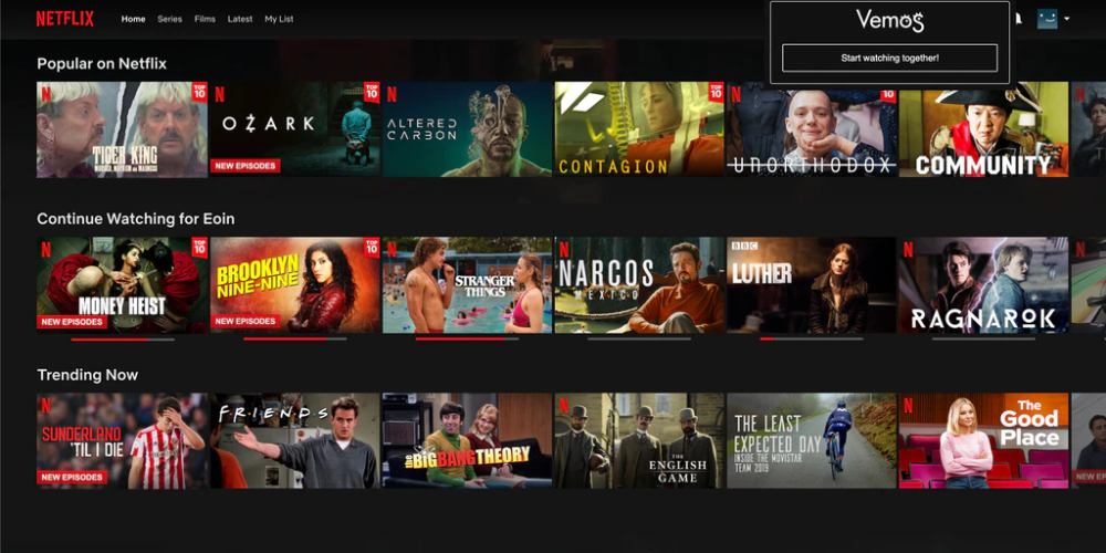 Vemos is a Chrome extension for making virtual movie