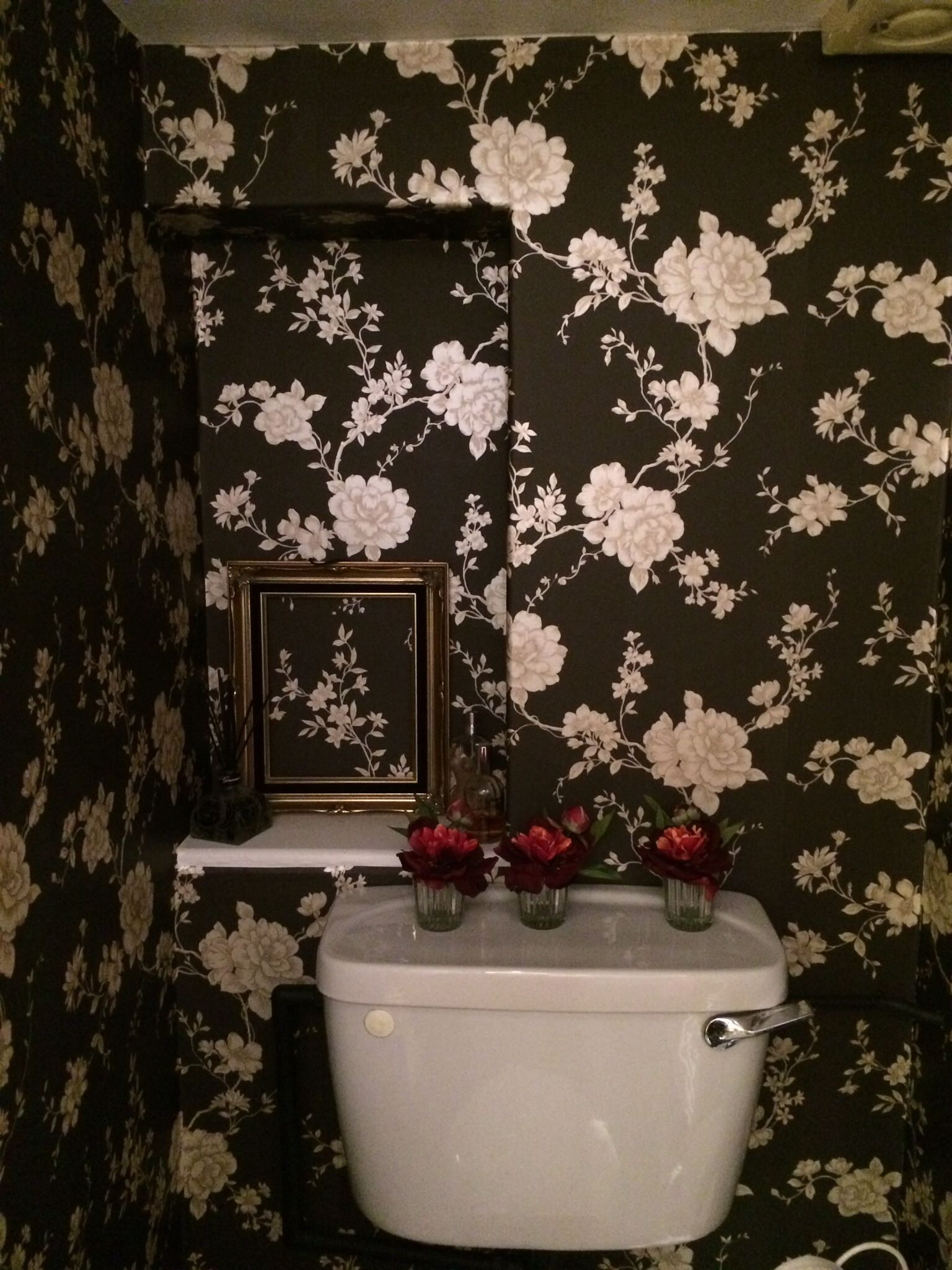 Love My New Powder Room With Black Gold Wallpaper Homebase